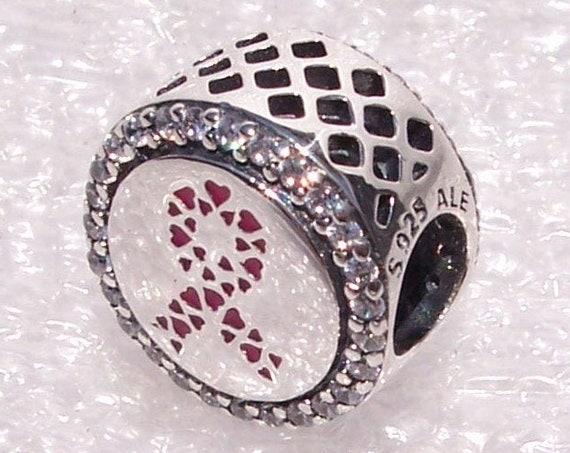Ribbon Of Strength, Pandora, Bracelet Charm, Pink, Petite Hearts, Survivor, Strong, Breast Cancer, Awareness, Enamel, Silver, Symbol, CZ