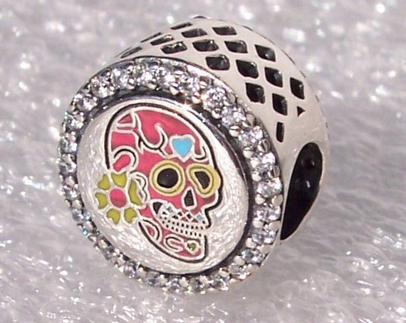 Day Of The Dead, Pandora, Dia De Los Muertos, Bracelet Charm, PINK, Sugar Skull Icon, Mexican Holiday, Mexico, Clear CZ, Enamel, 925, Slider