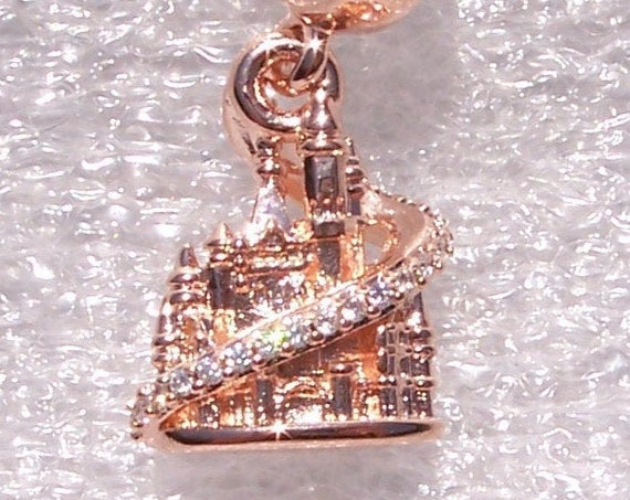 Shanghai Castle, Pandora ROSE, Disney, Resort, Bracelet Charm, Parks Exclusive, Rose Gold, Clear CZ, Dangle, Limited Edition