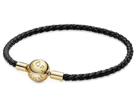 Pandora SHINE, Bracelet,Black Leather, Moments, Exclusive, Woven, Charm, Beads, Smooth, Ball Clasp, Jewelry Collection, Stunning, Solo,Layer
