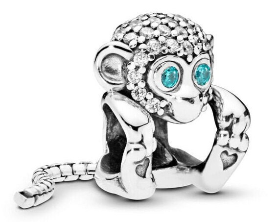 Sparkling Monkey, Pandora, Bracelet Charm, Heart, Tail, Dangle, Silver, Sociable, Optimistic, Confident, Wild Side, 2019, Unleash, Pave CZ
