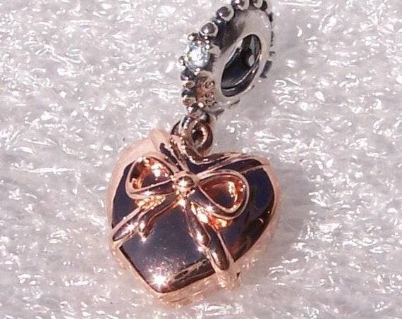 Brazilian Heart, Pandora ROSE, Bracelet Charm, Rose Gold Plated, Silver, Heart, Clear CZ, Dangle, Romantic, Te amo, I Love You, Friends