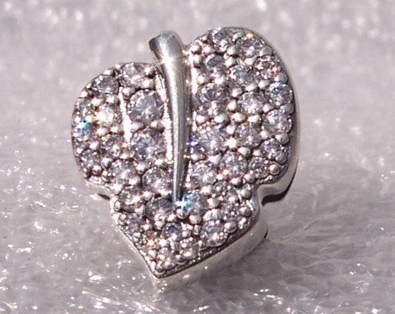 Sparkling Leaf, Pandora Reflexions, Bracelet Clip, Charm, Sterling Silver, Pave, Clear CZ, Autumn, 2019, Nature, Reversible, Texture