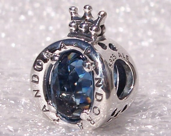 BLUE, Sparkling Crown O, Pandora Logo, Bracelet Charm, MAJESTIC, Blue Crystals, Regal, Sterling Silver, Slider, Symbol, Iconic, Recognizable