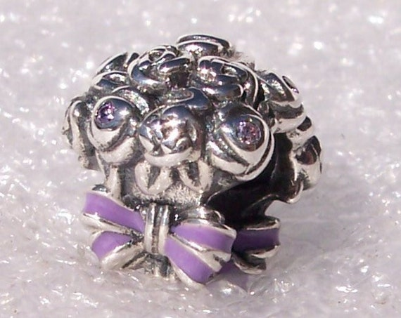 Pandora, Celebration Bouquet, Bracelet Charm, Lilac, Crafted Roses, Pink Crystal, Purple Enamel, Sterling Silver