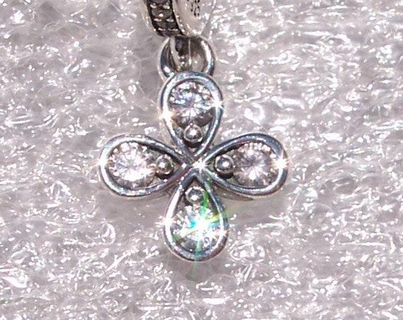 Four Petal Flower, Pandora, Bracelet Charm, Dangle, Necklace, Pendant, Little Flower, He Loves Me, Summer, Spring, Love, Passion, Blooms