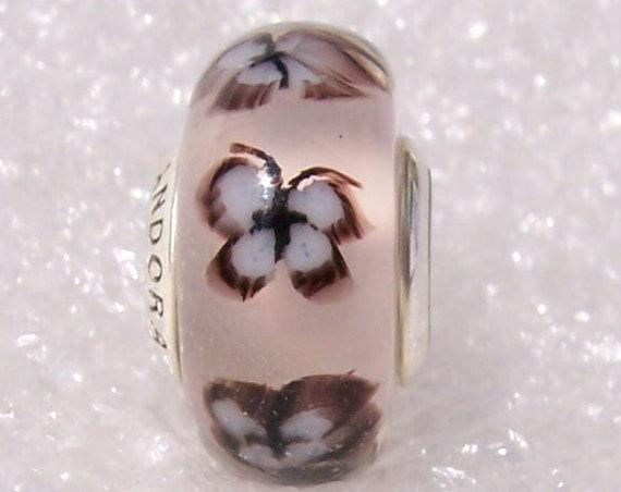 Butterfly Glass, Pandora, Spring, Bracelet Charm, 2019, Murano Glass, Sterling Silver