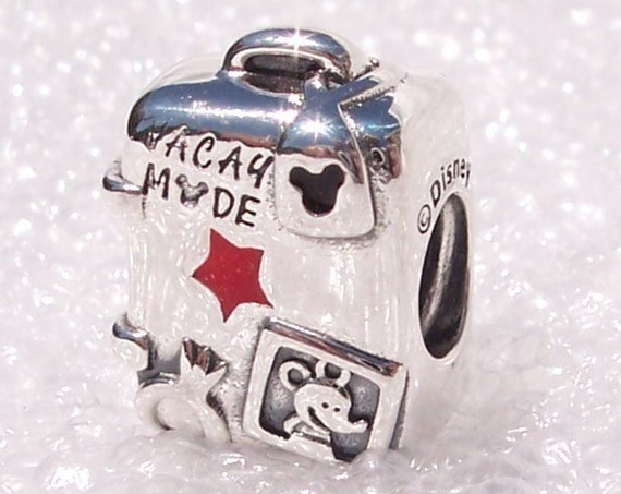Suitcase Charm, VACAY MODE, Pandora Charm, Mickey Minnie, 2019, Bracelet Bead, 925, Red Enamel, Travel, Memories, Family Time, Disney World