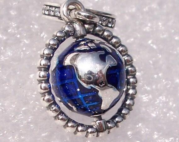 Spinning Globe, Pandora, Bracelet Charm, 925, Wondrous World, Blue Enamel, Travel Memories, CZ, Dangle, Adventures, Personal Pendant,Explore