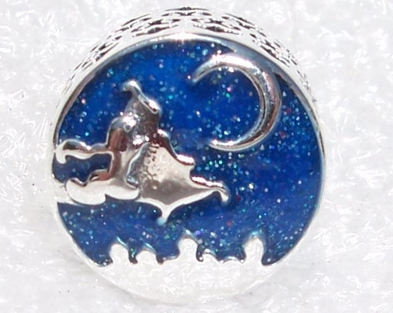 Magic Carpet Ride, Pandora Disney, Bracelet Charm, Aladdin, Nightscape, Princess Jasmine, Glitter Enamel, Sterling Silver, Slider