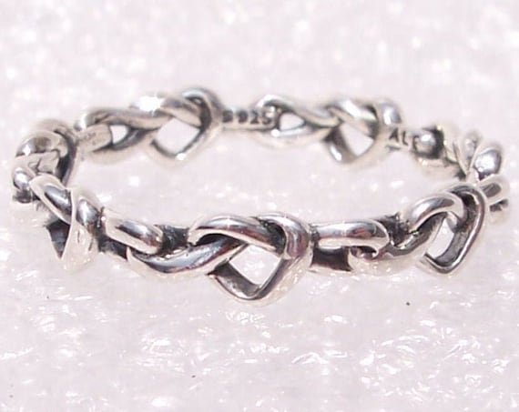 Knotted Hearts, RING, Pandora, Eternal Band, Stackable, Delicate, Forever Love, Friendship, Polished Silver, Entwined