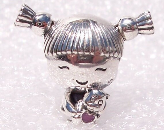 Girl With Pigtails, Pandora, Bracelet Charm, Pink Enamel, Sterling Silver, Cutie, Friendly Smile, Theodore Bear, Pink Heart, Bouncy Pigtails