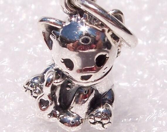 Sweet Cat, Pandora, Bracelet Charm, Furry Friend, Purrfect, Fish Collar, Heart, LOVE, Enamel, Sterling Silver, Animal Lovers, Paws