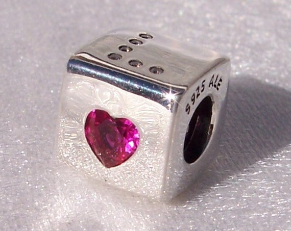 LOVE DICE, Pandora, Bracelet Charm, Silver, Roll The Dice, Playful, Heart, Red Clear CZ