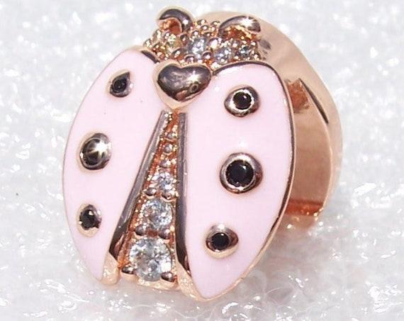 Ladybird REFLEXIONS, Pandora Rose, Pink Enamel, Black Crystal, Clear CZ, LUCK, Clip Bracelet Charm, Silver, 2019