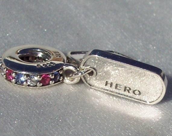Hero, Dog Tags, Pandora, Dangle, Bracelet Charm, Embellished, Red, Blue, Clear CZ, Tribute, Brave, Sterling Silver, Solders, USA Of America