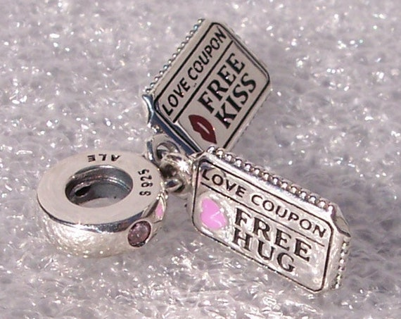 Love Coupon, Pandora, Bracelet Charm, Free HUGS, Kisses, 925, Dangle, Enamel, Raspberry Pink, Crimson Red, Synthetic Sapphires, Engraved