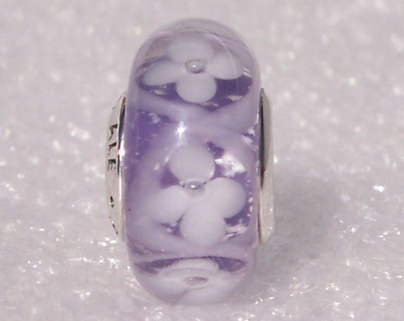 Pandora, Purple, Field Of Flowers, Bracelet Charm, Iridescent, White Flowers, Retired, Murano Glass