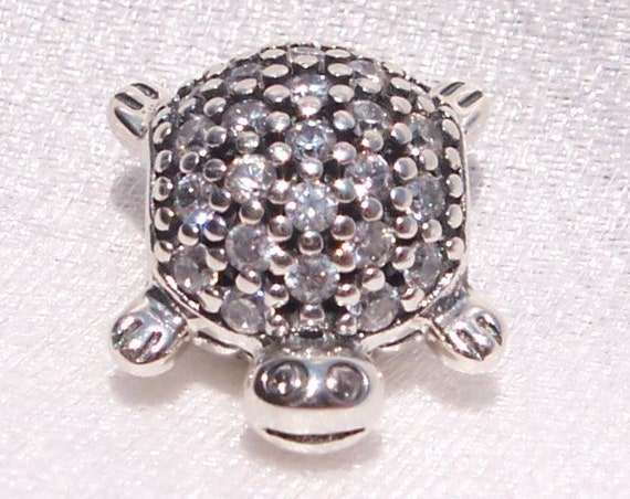 Sea Turtle, Pandora, Bracelet Charm, Sparkling, Tropical, Sterling Silver, Ocean Turtle, Clear CZ, Represent Stability, Patience Protection