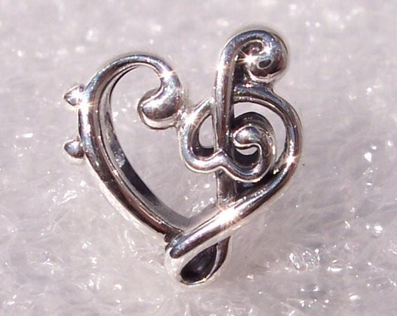 Heart Treble Clef, Pandora, Bracelet Charm, Silver, Music Lover, Elegant Curves, Intricate, Sweet Melody, Hearts, Passion, Teacher, 2019