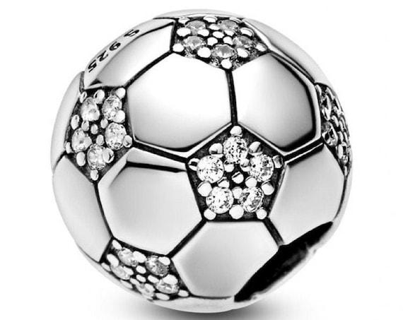 Soccer Charm, Sparkling, Pandora, Bracelet Bead, Clear CZ, 925, Big Game, Passion, TEAM, Football, Sports Fan, Sports Lover, USA