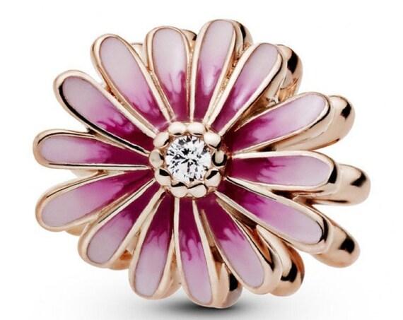 Pink Daisy Flower, Pandora Rose, Feminine, Floral, Enameled, Clear CZ, Resilient, Freedom, Slider,Springtime,Bracelet Charm, Spring Beads,