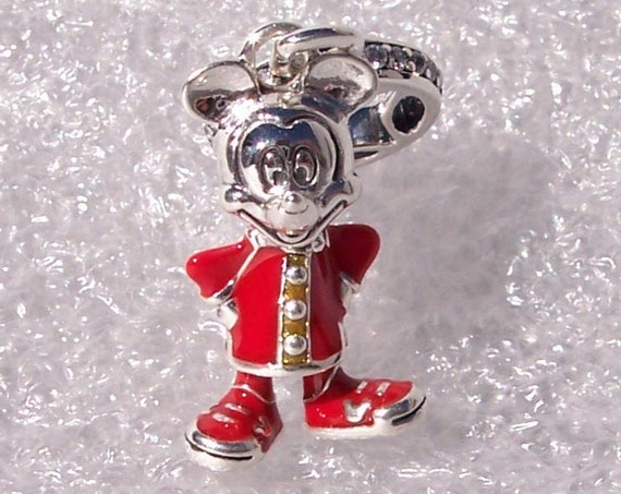 Mickey Mouse, Chinese New Year, Pandora Disney, RED Enamel, Changshan Jacket, Extra Good Luck, Icon, Fortune Coin, Minnie Mouse. 925, CZ