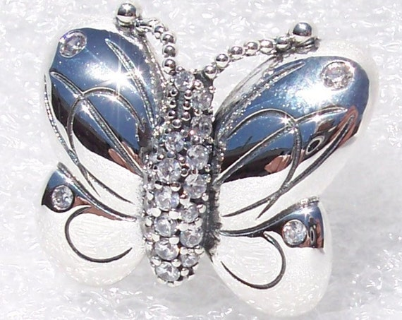 Pandora, Decorative Butterfly, Charm, HOPE, Endurance, Life, Souls, Clear CZ, Dramatic, Deep and Powerful, Symbol Of Resurrection