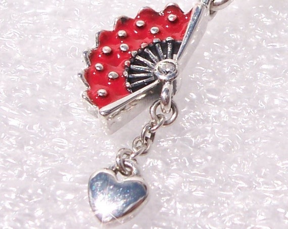 Spanish Fan, Pandora, Bracelet Charm, ESPANA, Bold Red Enamel, Sterling Silver, Dangle, Miniature Heart, Bezel Set CZ, Love Of Spain