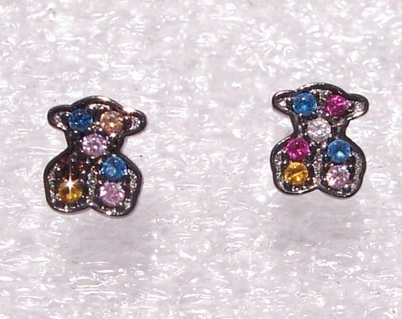 TOUS, Silver Fantasy, Earrings, Sapphires, SPAIN, Oxidized, Sterling Silver, Designer, High Fashion, Colorful, Bear Shape Studs, HOT, Trend