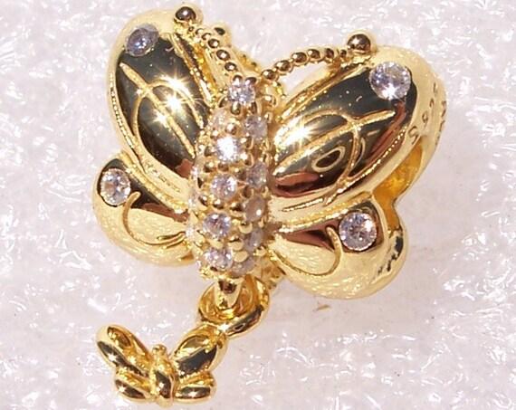 Decorative Butterfly, Pandora SHINE, Bracelet Charm, 18k Gold Plated, Clear CZ, Dramatic Glamour, In Flight, Dangle Friend, Spring 2019