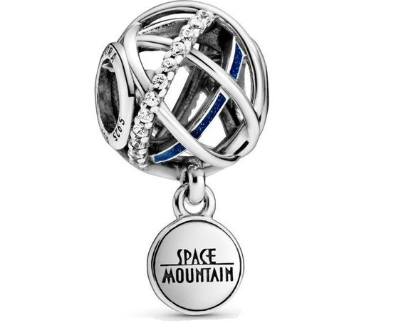 Space Mountain Charm, Pandora Disney, Roller Coaster, Parks Exclusive, Galaxy, 2020 Collection, Walt Disney, Attraction Logo, Glitter Enamel
