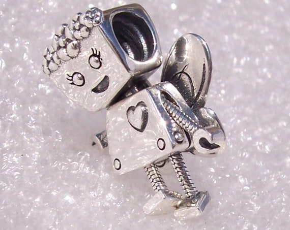 Floral Bella Bot, Pandora, LIMITED EDITION, Bracelet Charm, Floral Headpiece, Heart, Sterling Silver, Robot, Movable, Butterfly Wings, Happy