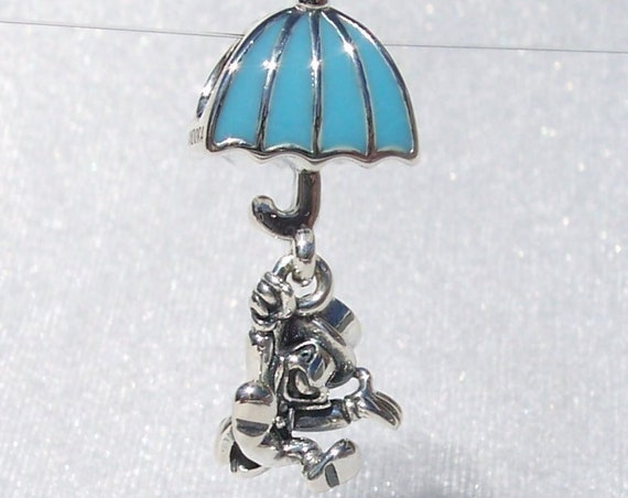 Jiminy Cricket, Pandora Disney, Bracelet Charm, Adventures, Comical, Wise Partner, Pinocchio, Figural, Dangle, Blue Enamel, Silver, Umbrella