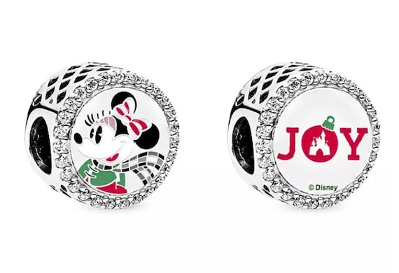 Minnie Mouse JOY, Holiday, Pandora Disney World, Exclusive, Mickey, Bracelet Charm, Enamel, 925, Clear CZ, Slider, Striped Bow, Castle