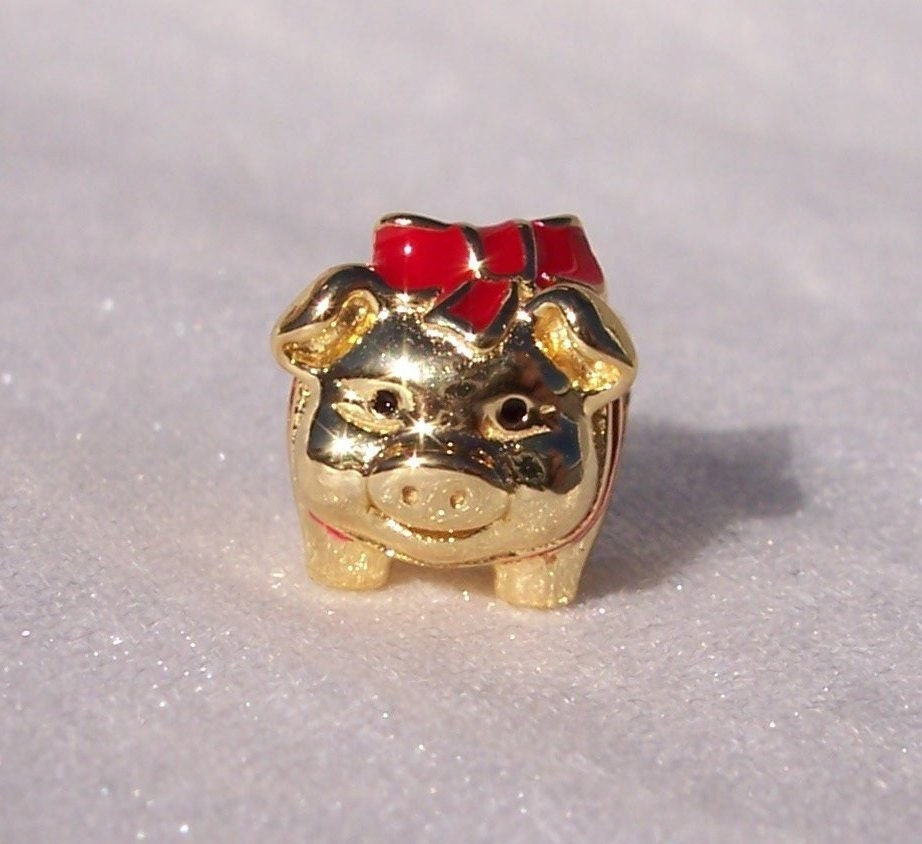 1876294e9 Piggy Bank, Pandora SHINE, Bracelet Charm, Silver, Chinese New Year, 18K  Plated, Red Enamel, Career, 767815ENMX
