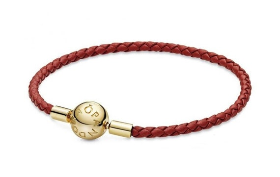 Pandora SHINE, Bracelet, Red Leather, Moments, Exclusive, Woven, Charm, Beads, Smooth, Ball Clasp, Jewelry Collection, Stunning, Solo, Layer