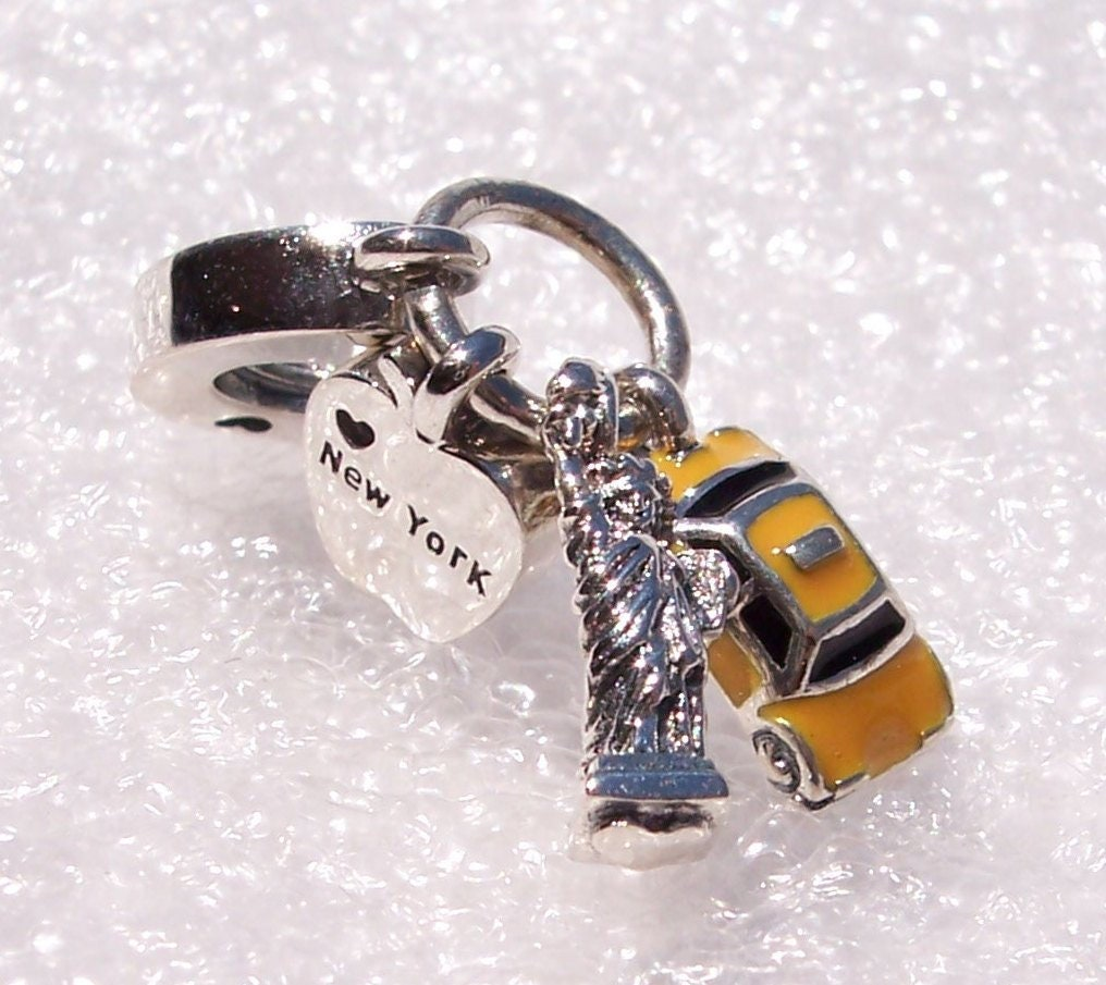 813fdd1f9 Pandora, New York, Highlights, Statue Of Liberty, Big Apple, Yellow Cab, Bracelet  Charm, Memento, Dangle, Enamel, Sterling Silver