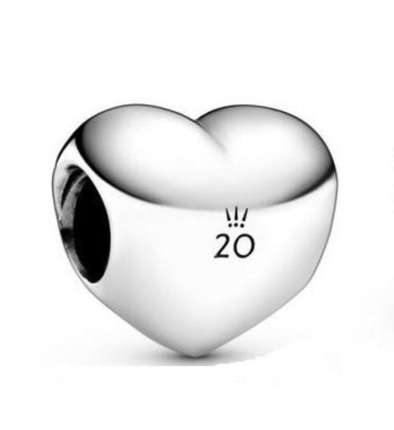 HEART Charm, Pandora, 2020 Limited Edition, 20TH Anniversary, Faith,Love,Loyalty,Devotion,Crown Logo,Puffy Heart Bead,Gift Idea,Collector