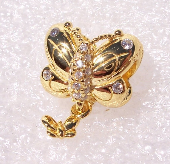 Decorative Butterfly, Pandora SHINE, Bracelet Charm, 18k Gold Plated, Clear CZ, Dramatic Glamour, In Flight, Dangle Friend, Spring 2019