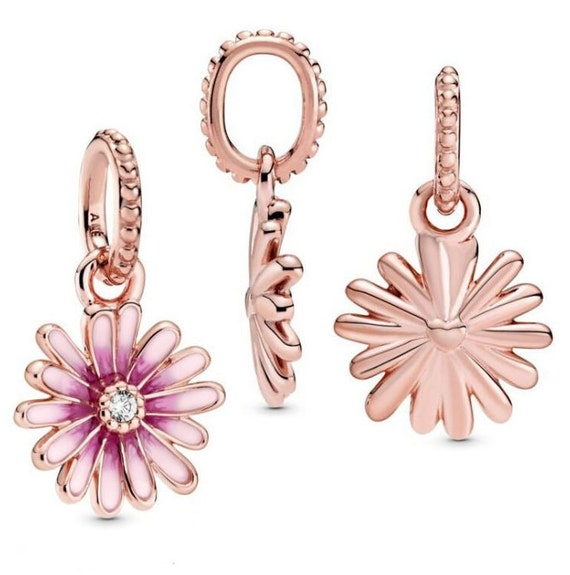 Pink Daisy, Flower Charm,Pandora Rose,Feminine,Floral Bead,Enameled,Sweet Scent,Clear CZ,Resilient,Freedom,Pendant,Springtime,Floral Jewelry
