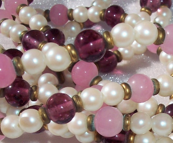 Designer Necklace,Sandra David,4 Strands,Purple,Pink Bead,Champagne,Glass Pearl Beads,Vintage Jewelry,Hallmarked,Fashion,MOD,Prom,Collection