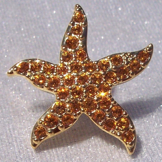 Swarovski, Starfish, Tack Pin, Warm Gold Crystal, Jewelry, Hallmarked, Nature, Ocean, Beach, Sparkle, Nautical,