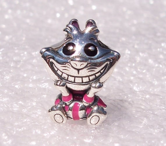 Cheshire Cat Charm, Alice In Wonderland, Pandora Disney,Bracelet Bead, Pink, 925,Enamel,Striped Outfit, Mysterious Grin, Character,Friends