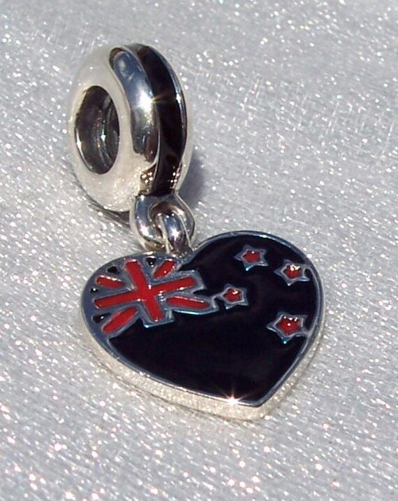 AUSTRALIAN, HEART FLAG, Pandora, Bracelet Charm, 925, Enameled, Travel Memories, Dangle, 6th Largest Country, Sydney, Opera House, Koala