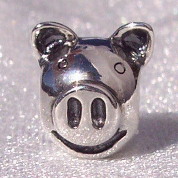 PIG, Pandora Bracelet Charm, Smart, Social, RETIRED, Farm Animal, Sterling Silver, Pet, Such A Ham, Smiling, Upright Ears, Snout, Oink Oink