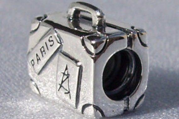 Suitcase, Pandora, Bracelet Charm, 925, Travel, RETIRED,  Memory, Vacation, Paris, Memories