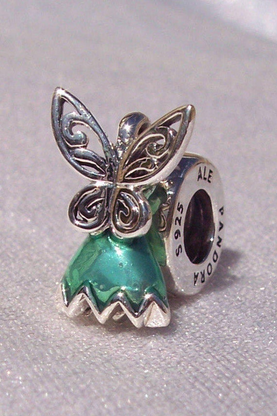 Tinker Bell Dress, Pandora Disney, Bracelet Charm, Sterling Silver, Glittering, Signature Green, Enamel, Pixie Dust, Elegant Wings