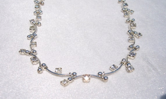 Monet Necklace, Rhinestones, Linked, Segments, Unique, High Fashion, Designer, Vintage Jewelry, Lobster Clasp, Silver Tone, Prom, Wedding