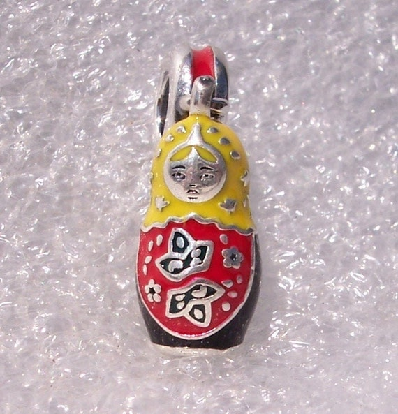 Matryoshka Doll, Pandora, Bracelet Charm, Russian Culture, STRONG Female, Motherhood, Family, Sterling Silver, Dangle, Mixed Enamel, Nested